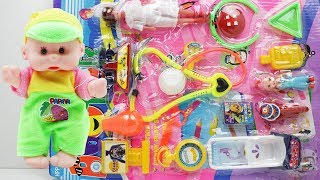 Toy Doctor Checking Baby & Toy Review Video With Unpacking Toy Doctor Set
