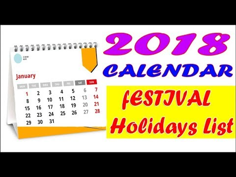 2018 calendar with holidays - YouTube