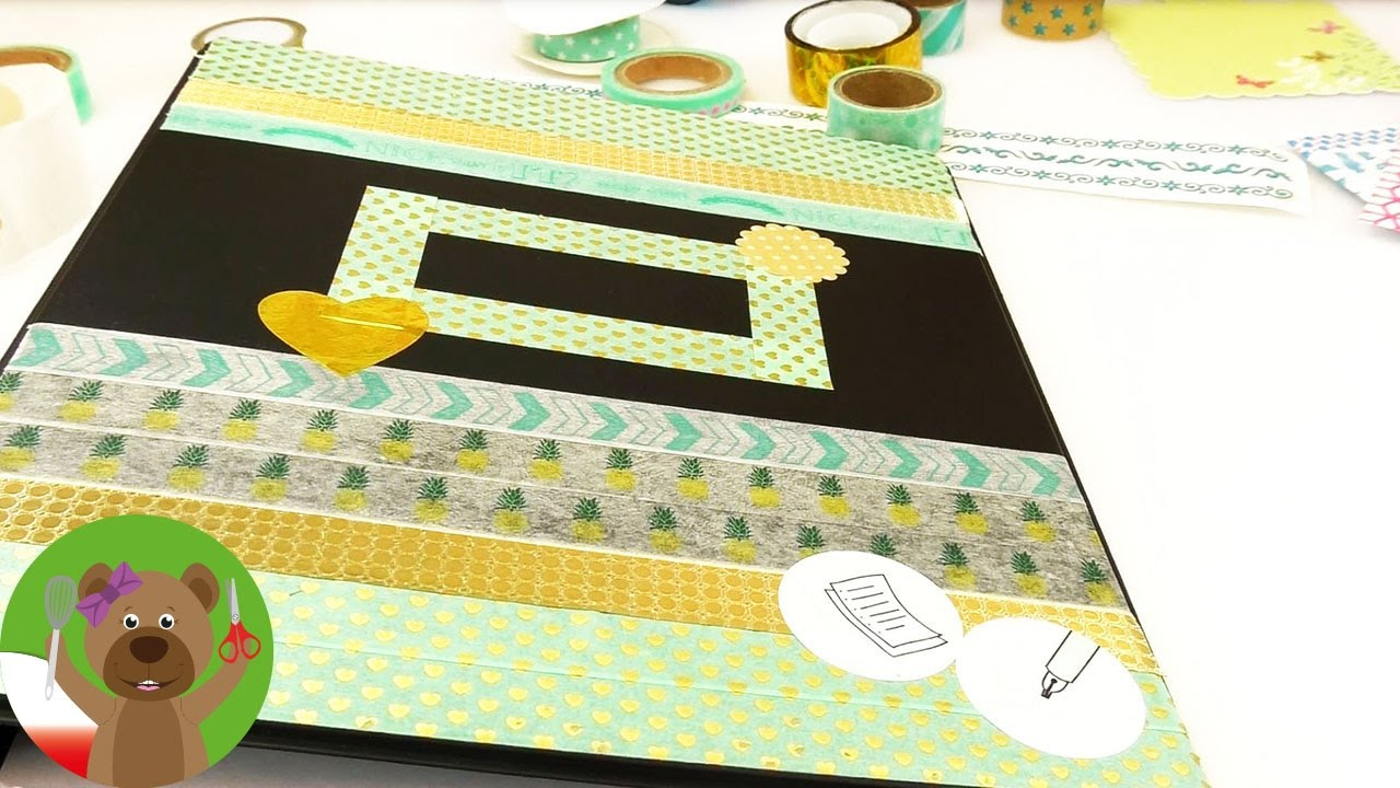 Ozdabianie kalendarza | złoto-turkusowy wzór na kalendarz | washi tape