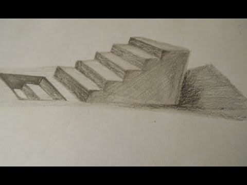 3d Staircase Drawing Drawing 3d Staircase