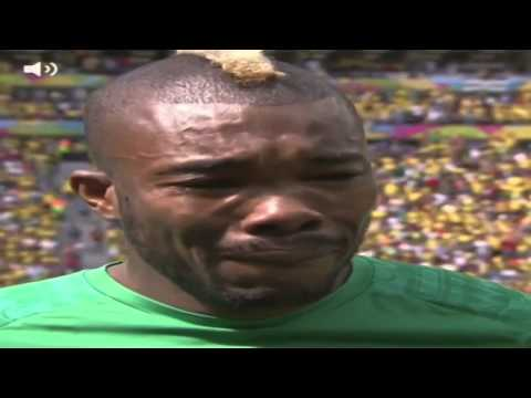 Serey Die crying after the news of his father death (Colombia vs. Ivory Coast) World Cup Brazil 2014