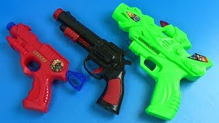 BOX OF TOYS with Colored Toy Guns ! Whats in the box? Johny Johny Yes Papa with Learn Colors for Kid