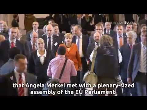 Merkel grilled by MEPs