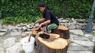 Turn Logs to small patio | thank you Jesus for the gift of life and talent