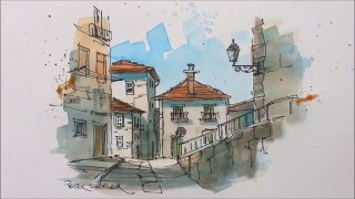 A pen and wash watercolor in my Urban Sketching style. Great for beginners and seasoned artist alike