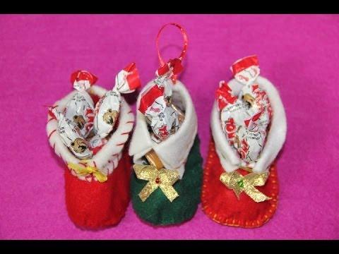Zapato navideno de fieltro regalo navideno de ultimo - Manualidades con fieltro para navidad ...
