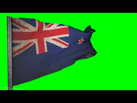 vintage new zealand flag grunge Flag  style 3D ANIMATION  1080p  green screen  s01r01