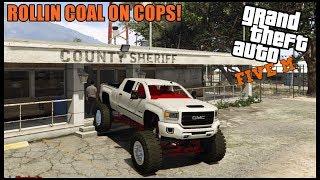 GTA 5 ROLEPLAY - GMC MEGA CAB ROLLIN COAL INSIDE POLICE STATION! - EP. 670 - CIV