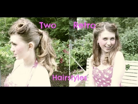 Two Quick and Easy Vintage Inspired Retro Pincurled Hairstyles;Ponytail/Half up