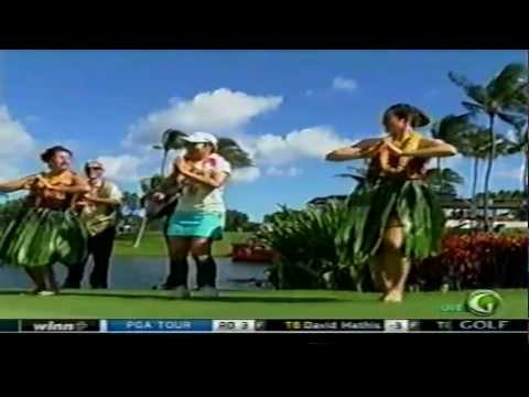 Ai Miyazato dancing the hula after her victory at the 2012 • LPGA LOTTE Championship