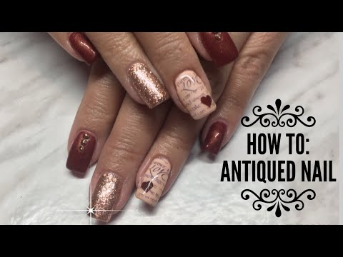 How to do an Antiqued Nail/Vetro Rose Leaf/Valentine's Nails