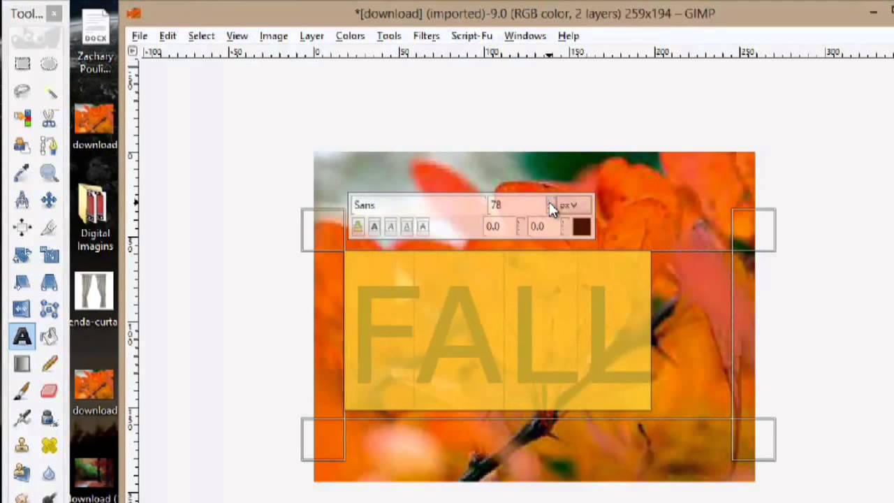 how to put text over a picture gimp