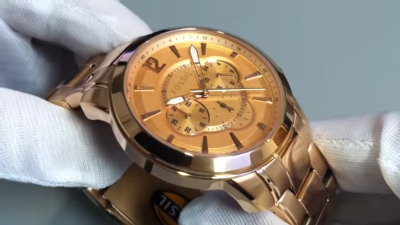 men 39 s fossil grant chronograph rose gold watch fs4635. Black Bedroom Furniture Sets. Home Design Ideas