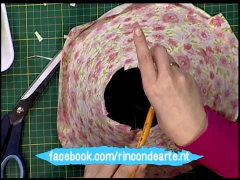 Pantalla para lampara de velador con tela 2da parte youtube - Como forrar muebles con tela ...