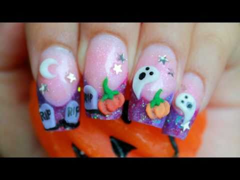 Happy Halloween!!!!     3D purple acrylic nail design