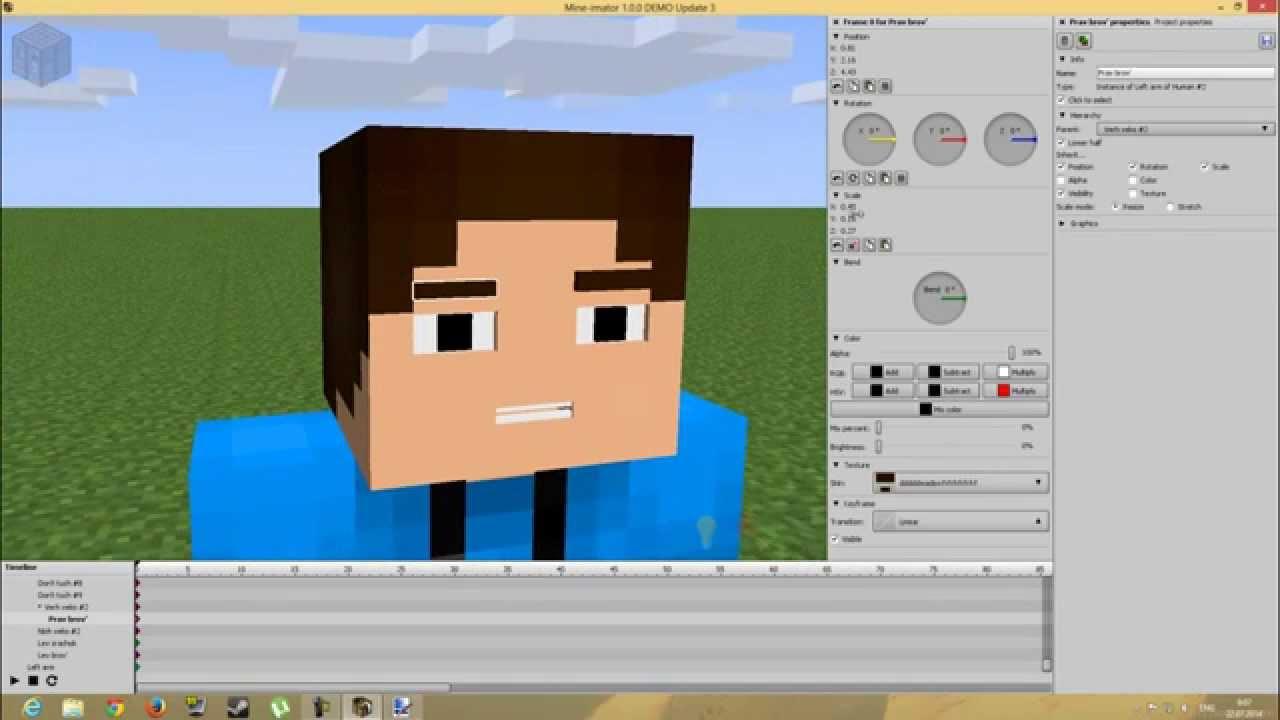 Туториал по программе Mine Imator 1.0.0 Создаем риг лица - YouTube