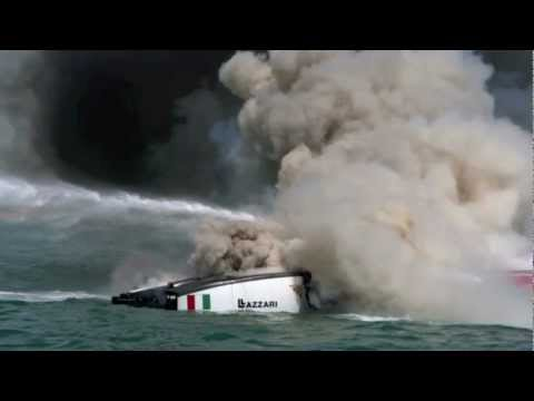 Pal Virik Nilsen in powerboat fire. With Massimo Roggiero, Class-1.