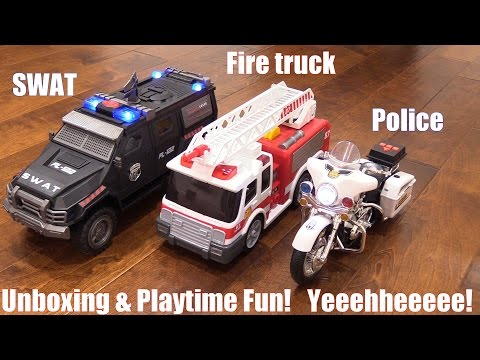 Toy Cars & Trucks! SWAT Armored Truck, Motorcycle Police and Fire Truck that Shoots Water