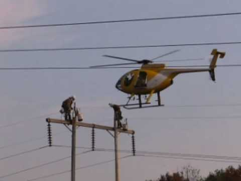 Power line workers/Helicopter