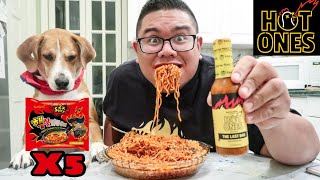 Fire Noodle Challenge X5 & The Last Dab Hot Ones Hot Sauce
