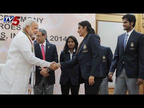 PM Narendramodi felicitates AsianGames Medal Winners