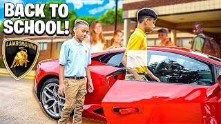 I TOOK JERRY & ADONNIS TO SCHOOL IN A LAMBORGHINI THE FIRST DAY!!