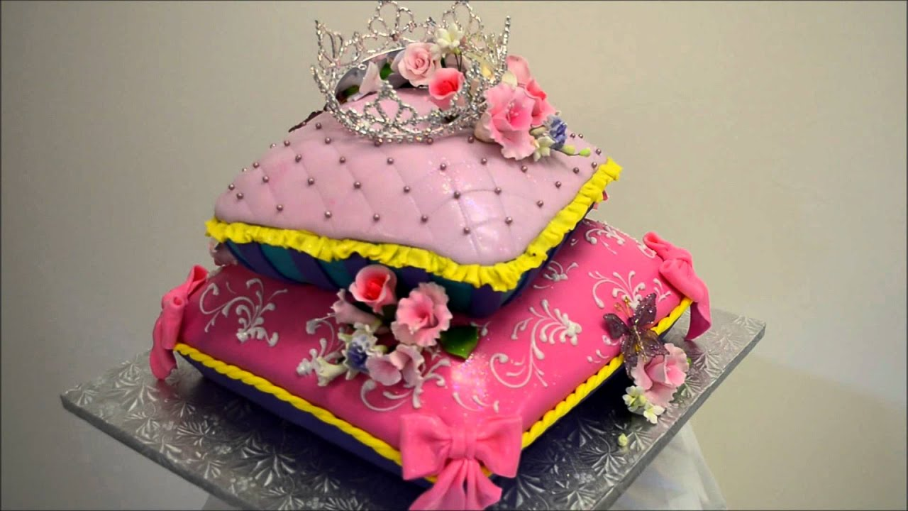 Baby Princess Theme Pillow Cake Fondant Icing Cake Ideas