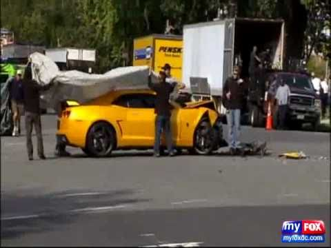 Transformers 3 camaro Bumblebee Accident