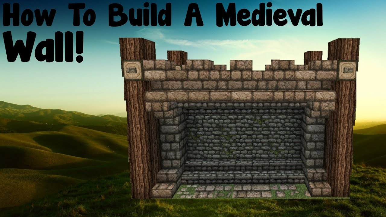 minecraft tutorial how to build a medieval wall tutorial. Black Bedroom Furniture Sets. Home Design Ideas