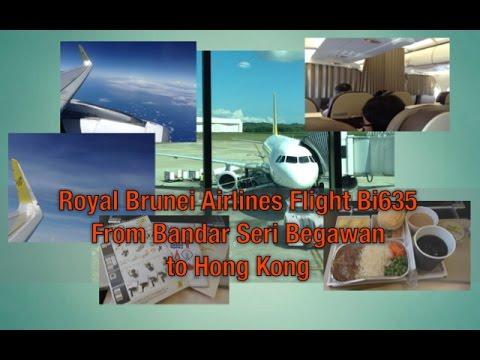 Royal Brunei Airlines A320 Flight Bi635 Taking Off From Bandar Seri Begawan to Hong Kong