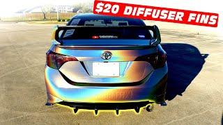 $20 Diffuser Fins Install for Rear bumper Carbon Fiber Look