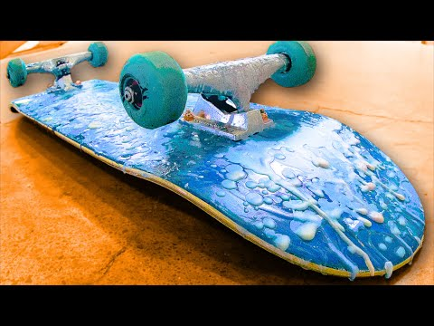 WE COATED A SKATEBOARD ENTIRELY IN WAX! SKATE EXPERIMENTS!