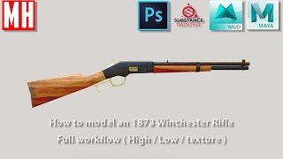 3D Modeling an 1873 Winchester rifle ( Full High to Low workflow ) Part 2 of 2
