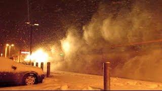 *MUST SEE!* High Speed Amtraks Meet in Blizzard!!