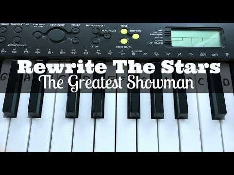 Rewrite The Stars - The Greatest Showman   Easy Keyboard Tutorial With Notes (Right Hand)