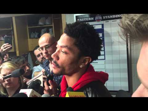 Derrick Rose talks after the Chicago Bulls are eliminated by the Cleveland Cavaliers