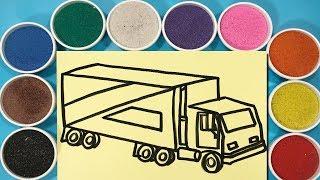 Đồ chơi trẻ em TÔ MÀU TRANH CÁT XE TẢI - Learn colors with sand painting truck toys (Chim Xinh)