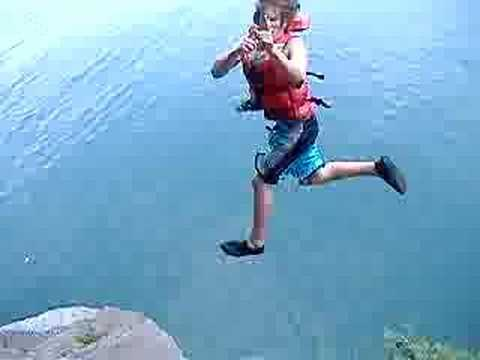 This was my first cliff jump ever. Yeah i know its not high, and i am wearing a life jacket but i have matured. Check out my other jumping videos, All set to...