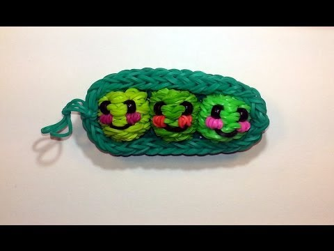 3-D Happy Peas in a Pod Tutorial by feelinspiffy (Rainbow Loom)
