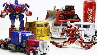 Transformers Stop motion! Optimus Prime, Iron Man w/ Bulldozers Rampage Robot Car & Lego Robbery!