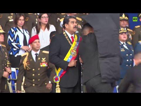بالفيديو: لحظة محاولة اغتيال رئيس فنزويلا .. ورد فعل حُراسه