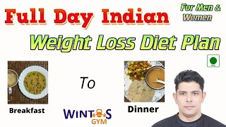 Full day Indian diet plan for weight loss for men & Women | Weight loss diet chart | WintosGym