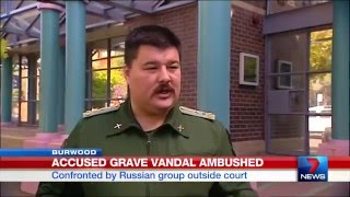 Cossacks confront man accused of destroying FIFTY Orthodox Russian graves