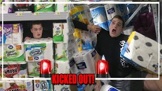 BIGGEST TOILET PAPER FORT EVER!? (KICKED OUT!)