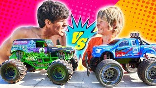 GRAVE DIGGER RC MONSTER TRUCK VS F150 RAPTOR + GIVEAWAY!
