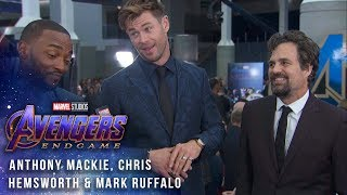 Mark Ruffalo, Chris Hemsworth & Anthony Mackie Try Not to Spoil Avengers: Endgame at the Red Carpet