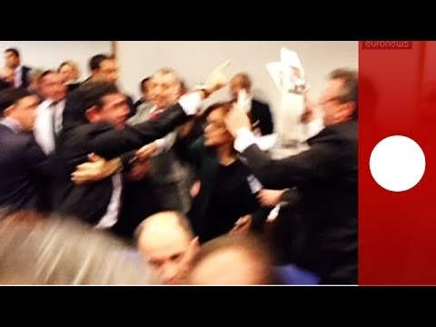 Video: MPs brawl in Turkish parliament over reform