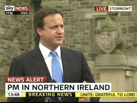David Cameron speaking in Stormont, Northern Ireland 20 May 2010