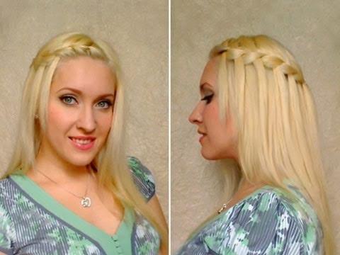 Waterfall Braid Hairstyles For Medium Long Hair Tutorial For School Коса водопад