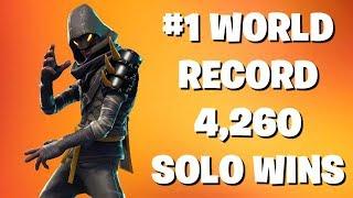 #1 World Record 4,260 Solo Wins - Fortnite Live Battle Royale